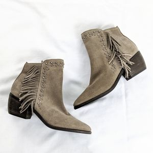 Lucky Brand Fringe Studded Suede Heeled Booties